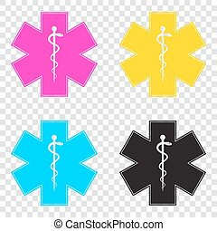 Medical symbol of the Emergency or Star of Life. CMYK icons...