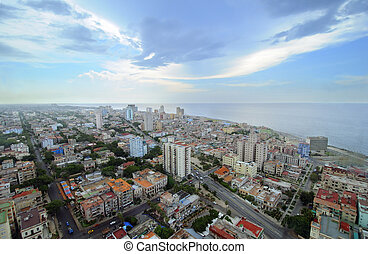 Cityscape of Havana. skyline of Vedado buildings - Beautiful...