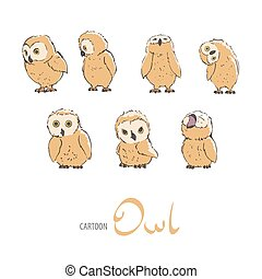 Cute owlet set on white background