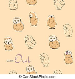 Background seamless with owls - Cute bird seamless...