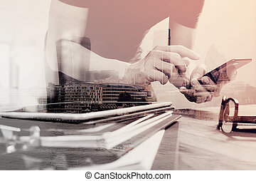 Double exposure of Designer hand using mobile payments...