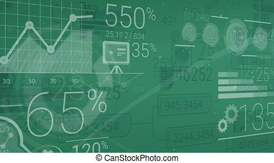 Dark Green Corporate Background With Abstract Elements Of...