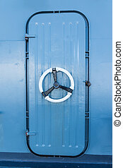 Vault Safe - A Steel Strong Box Door with Hinges and Rivets