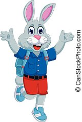 funny rabbit cartoon going to school - vector illustration...