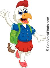 funny hen cartoon going to school - vector illustration of...