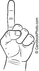 squeezed the hand with a raised index finger on white background of vector illustrations