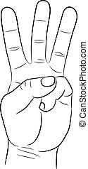 Hand showing three fingers on white background of vector illustrations
