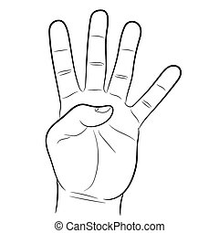 hand showing four fingers on white background of vector...