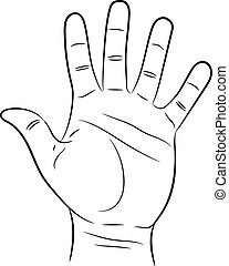 hand showing five fingers on white background of vector illustrations