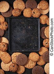 Various cookies and baking pan - Vintage baking pan among...