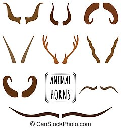 Print - Hand drawn silhouettes set of animal horns made in...