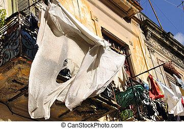 Shabby balcony in Old Havana