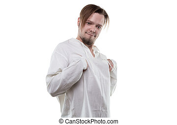 Mentally ill in white shirt