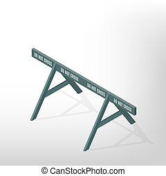 Road traffic barrier isometric, vector illustration. -...