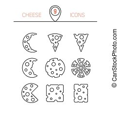 Vector illustration of cheese. Set of nine linear icons.
