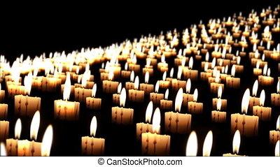 Thousands of candles in the night, close up, dof