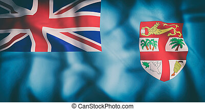 Republic of Fiji flag - 3d rendering of an old Republic of...