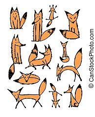 Cute fox sketch, collection for your design