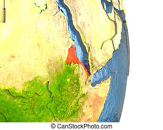 Eritrea in red on Earth - Eritrea in red with surrounding...