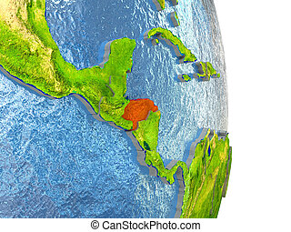 Honduras in red on Earth - Honduras in red with surrounding...