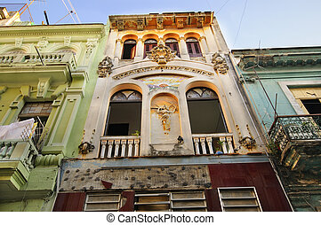 Old Havana architecture detail - Detail of colorful building...