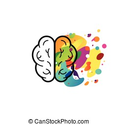 Left and right brain hemispheres - Vector illustration in...
