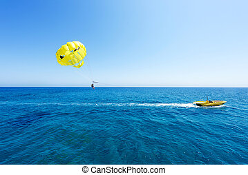 Photo of sea in protaras, cyprus island with yellow...