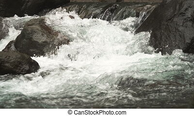 Mountain stream river. - Mountain river. Stones and mountain...