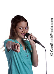 Teenage Girl Singing Isolated on White Background - A...