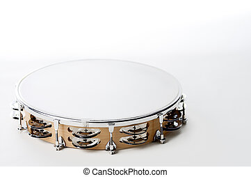 Tambourine Isolated On White - A round shaped maple wood...