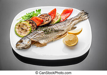 pan fried grilled roasted cooked whole fish trout sea bass...
