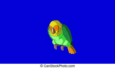 Green Parrot Wakes Up. Classic Handmade Animation - Green...