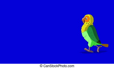 Green Parrot Walks. Classic Handmade Animation - Green...