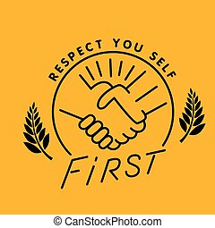 respect you - respect handshake logo, thin line style vector...