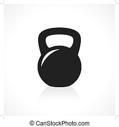 Kettlebell icon - Black kettlebell icon with reflection on...