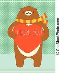 Valentine banner with cute bear and heart - Be my Valentine....