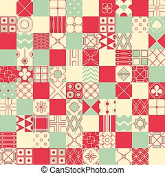 Seamless vector background in patchwork style with geometric patterns