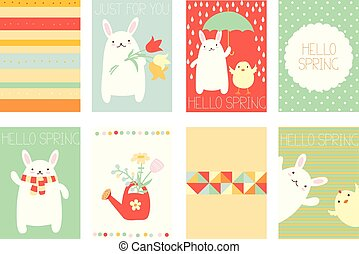 Set of springtime banners with cute rabbit - Collection of...