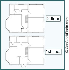 Abstract plan two storey house