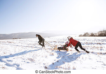 Mother pushing daughter on sledge, father pulling her....