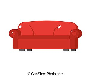 Red sofa isolated. Big Large soft couch on white background