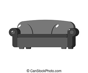 Black sofa isolated. Big Large soft couch on white background
