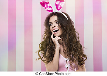 Flirty facial expression of sexy bunny