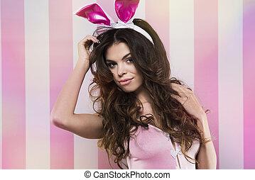 Sexy portrait of woman in rabbit ears