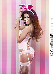 Sexy woman in easter rabbit costume