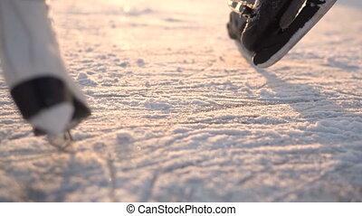 Kids Ice Skating on Frozen Lake