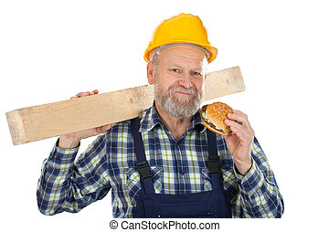 Engineer eating while work - Picture of an engineer having a...