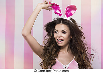 Cheerful easter bunny with wide smile