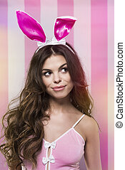 Cute girl with Easter rabbit ears