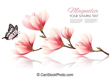 Beautiful pink magnolia background with butterfly. Vector.